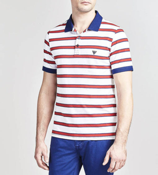 GUESS polo uomo rigata con colletto a contrasto