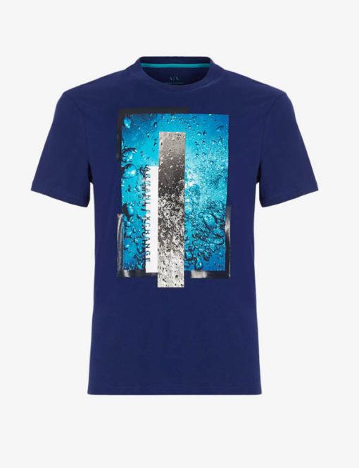 Maglietta Armani Exchange uomo con stampa azzurra-4