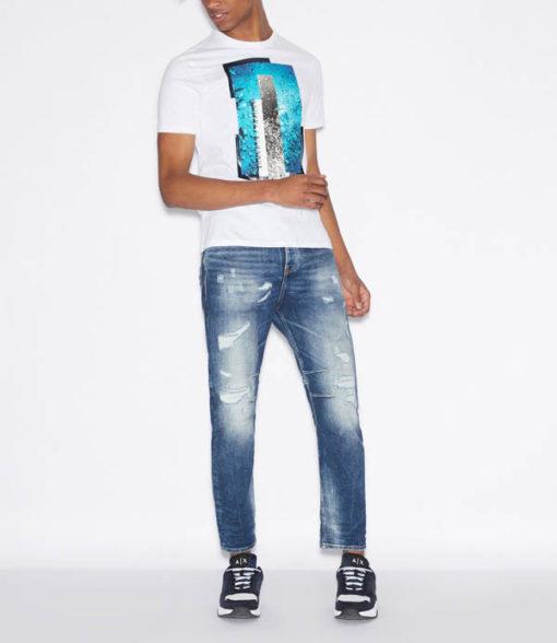 Maglietta Armani Exchange uomo con stampa azzurra-7