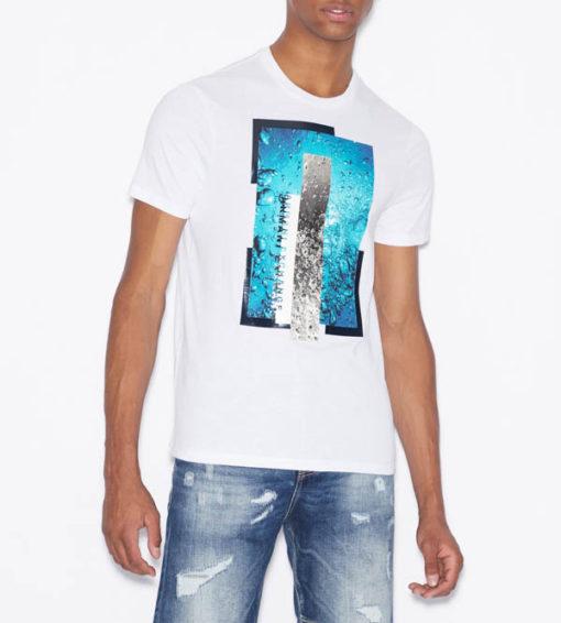 Maglietta Armani Exchange uomo con stampa azzurra-1