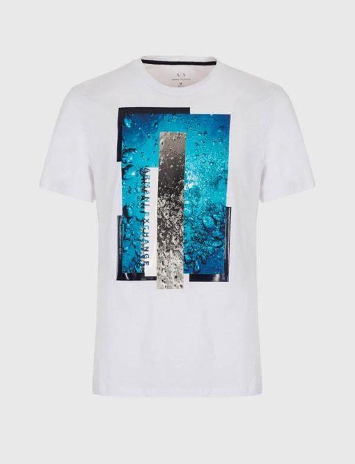 Maglietta Armani Exchange uomo con stampa azzurra-5