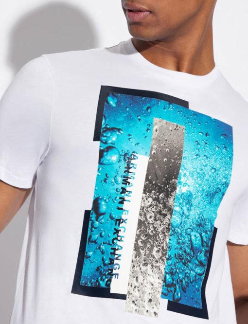 Maglietta Armani Exchange uomo con stampa azzurra-3