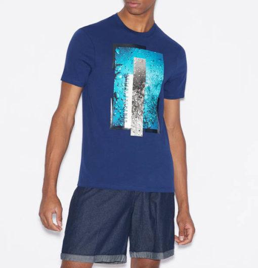 Maglietta Armani Exchange uomo con stampa azzurra