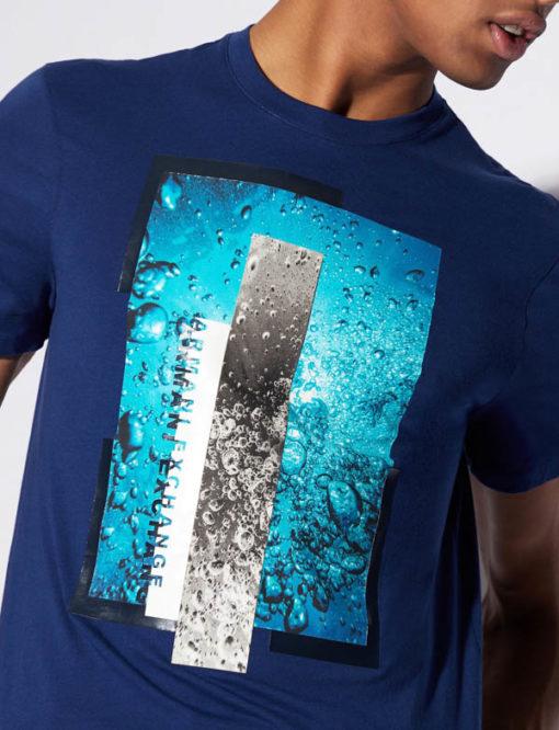 Maglietta Armani Exchange uomo con stampa azzurra-2