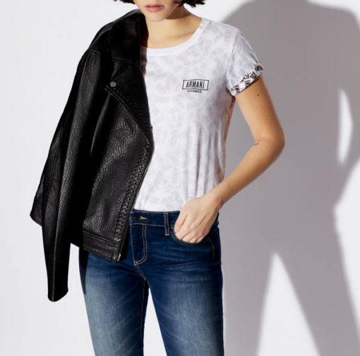 maglietta logo Armani Exchange all over da donna