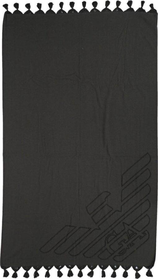 Emporio Armani Telo mare nero con aquila in tinta -3