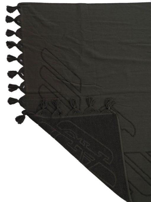 Emporio Armani Telo mare nero con aquila in tinta -2