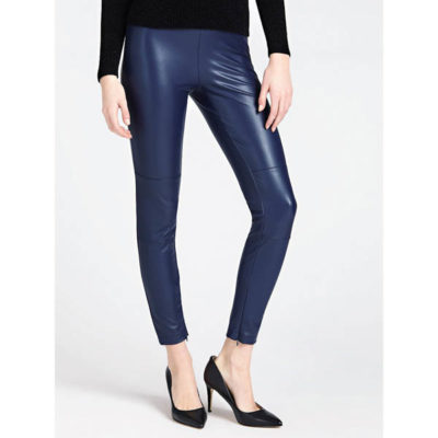 GUESS pantalone ecopelle blu leggings