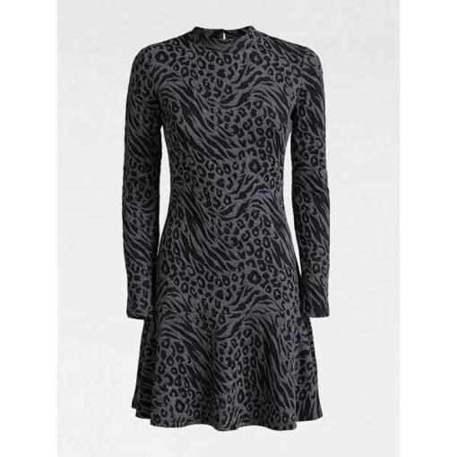 vestito donna GUESS grigio corto manica lunga-2