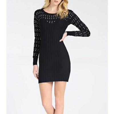 GUESS vestito nero corto in maglina con applicazioni