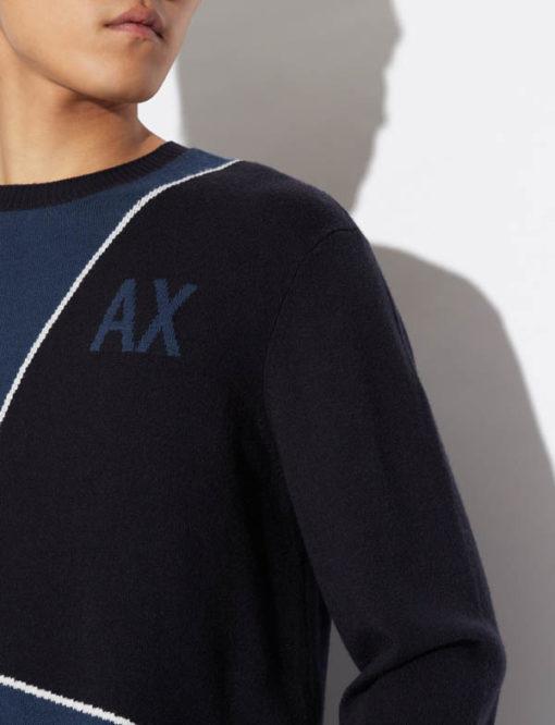 maglia grigia e nera ARMANI EXCHANGE girocollo da uomo-5