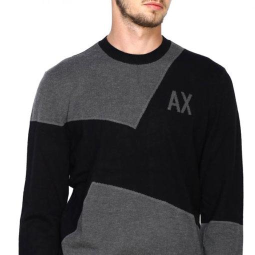 maglia grigia e nera ARMANI EXCHANGE girocollo da uomo-1