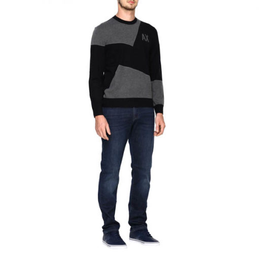 maglia grigia e nera ARMANI EXCHANGE girocollo da uomo-2