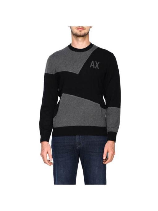 maglia grigia e nera ARMANI EXCHANGE girocollo da uomo