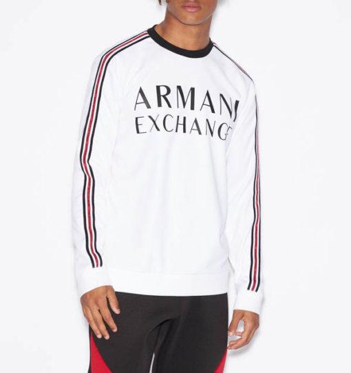 Felpa logo Armani Exchange da uomo girocollo