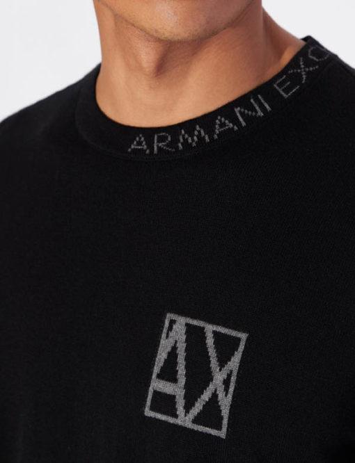 ARMANI EXCHANGE maglia girocollo con piccola scritta da uomo-5