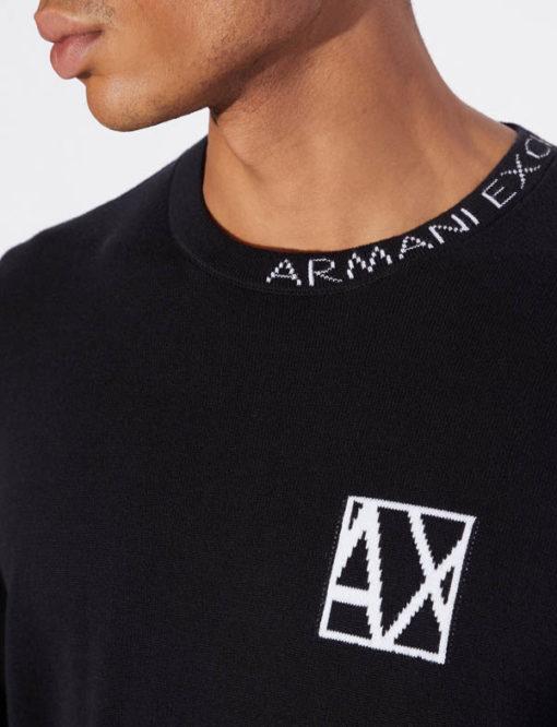 ARMANI EXCHANGE maglia girocollo con piccola scritta da uomo-4