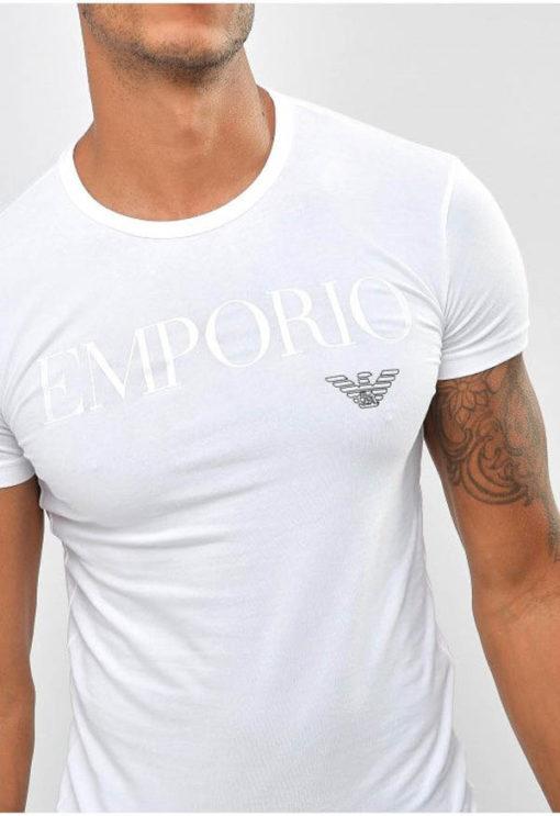 Emporio Armani t-shirt con scritta in tessuto stretch -1