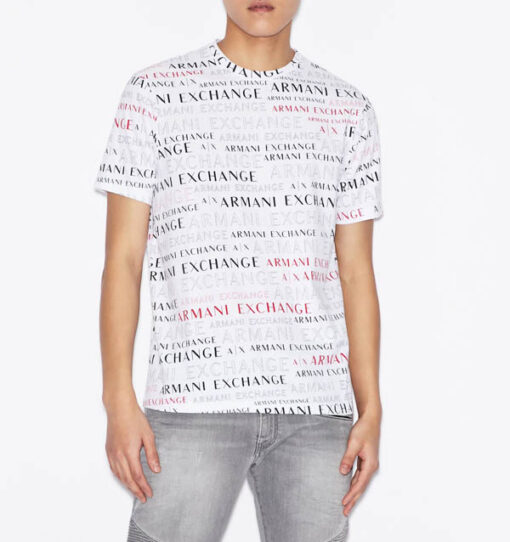 ARMANI EXCHANGE maglietta uomo cono scritte logo all over-6