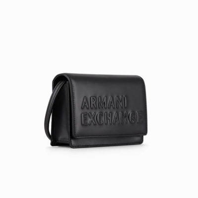 TRACOLLA ARMANI EXCHANGE BORSA NERA CON PATTINA-2