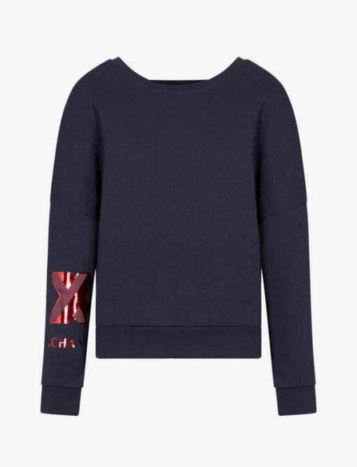 Felpa donna Armani Exchange girocollo blu con logo rosso sul braccio-4