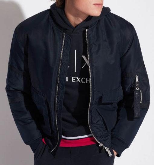 Felpa Armani Exchange blu da uomo con scritta logo e cappuccio-2