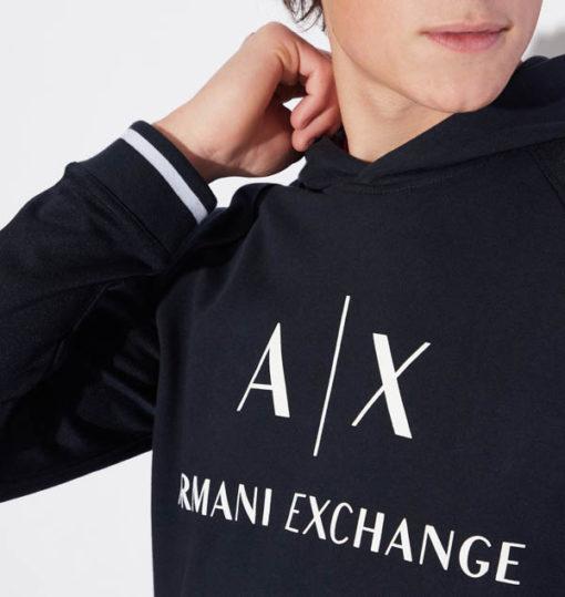Felpa Armani Exchange blu da uomo con scritta logo e cappuccio-1