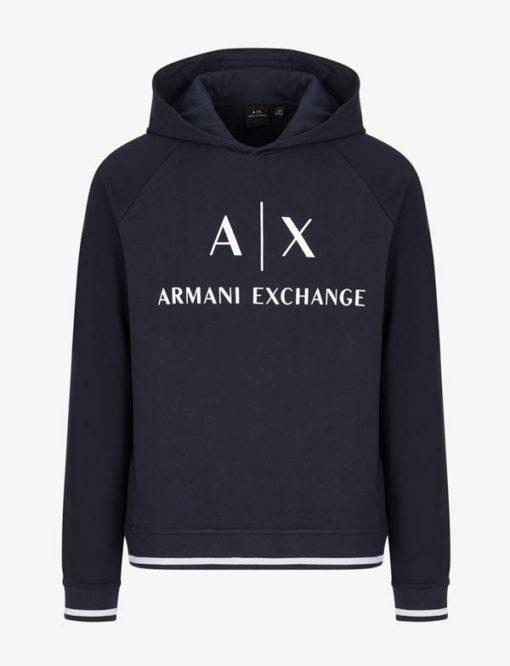 Felpa Armani Exchange blu da uomo con scritta logo e cappuccio-3