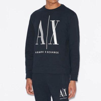 Felpa uomo Armani Exchange logo A|X girocollo