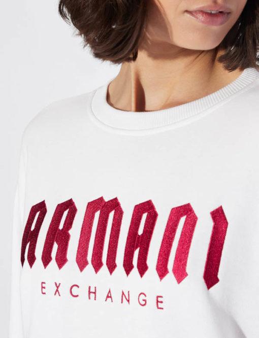 Armani Exchange felpa donna bianca con scritta fucsia -1