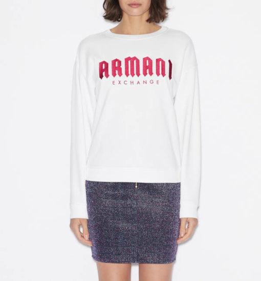 Armani Exchange felpa donna bianca con scritta fucsia