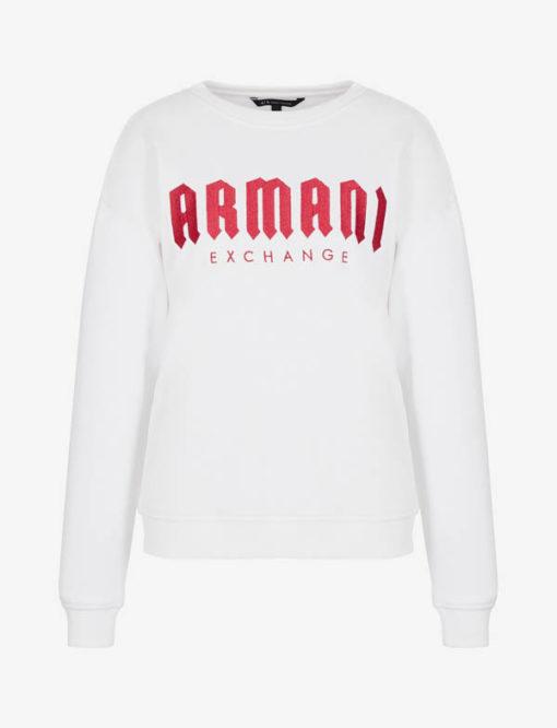 Armani Exchange felpa donna bianca con scritta fucsia -3