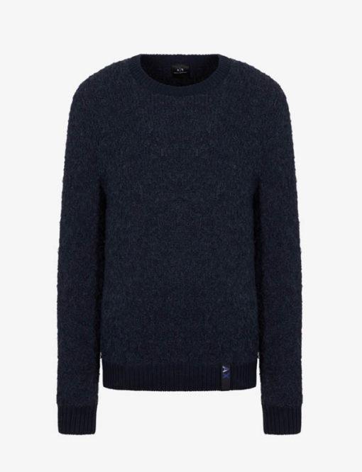 ARMANI EXCHANGE maglia da uomo blu girocollo-2