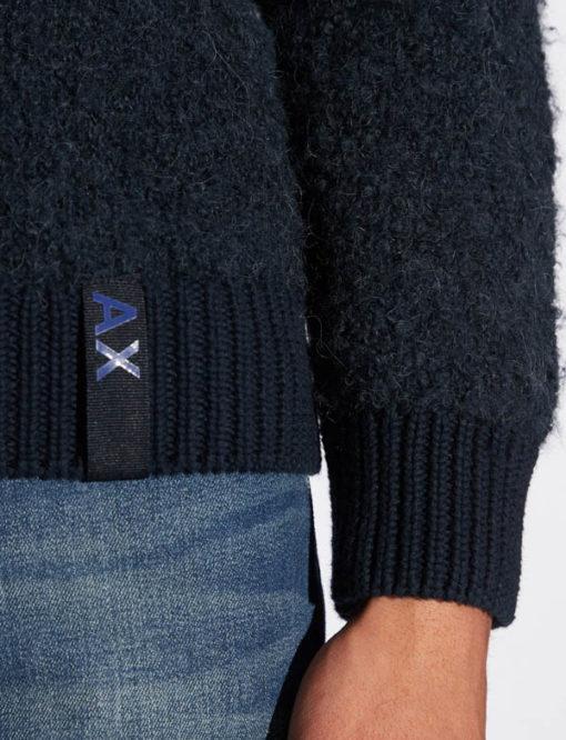 ARMANI EXCHANGE maglia da uomo blu girocollo-1