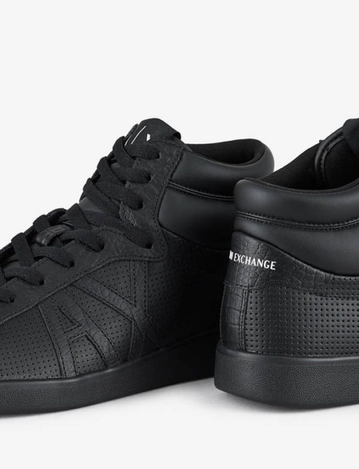ARMANI EXCHANGE sneakers alta in pelle nera da uomo-2