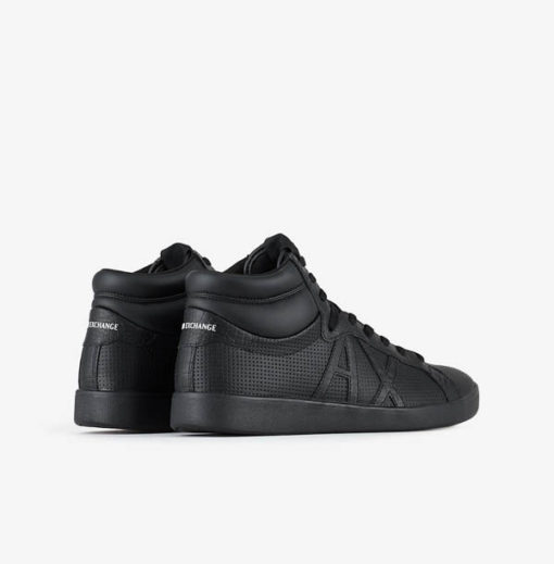 ARMANI EXCHANGE sneakers alta in pelle nera da uomo-4