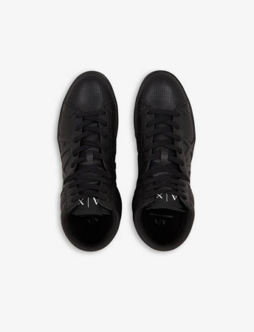 ARMANI EXCHANGE sneakers alta in pelle nera da uomo-3