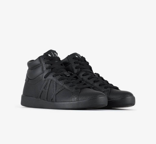 ARMANI EXCHANGE sneakers alta in pelle nera da uomo