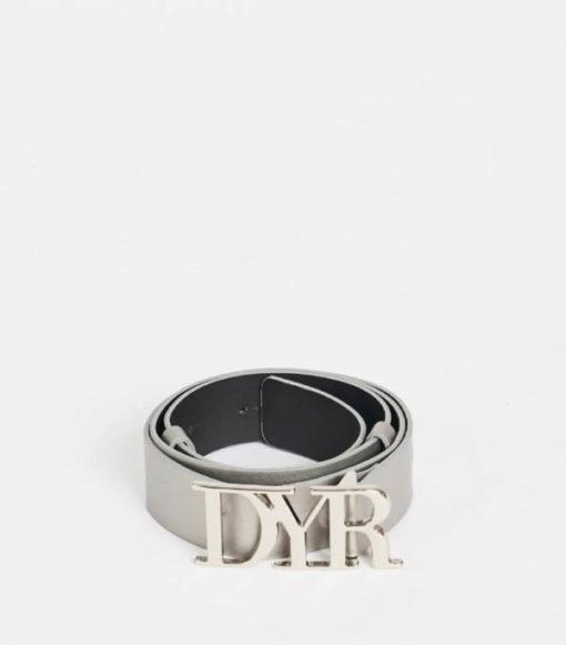 Cintura con fibbia logo Denny Rose grigia