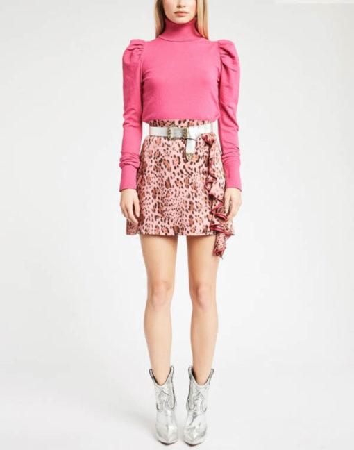 DENNY ROSE mini gonna animalier rosa
