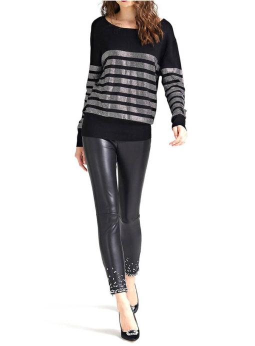 GUESS maglia nera con strass da donna -1