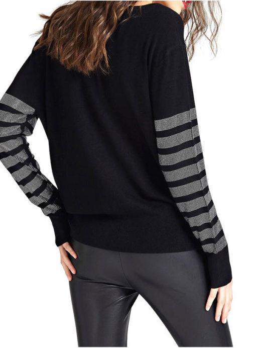 GUESS maglia nera con strass da donna -3