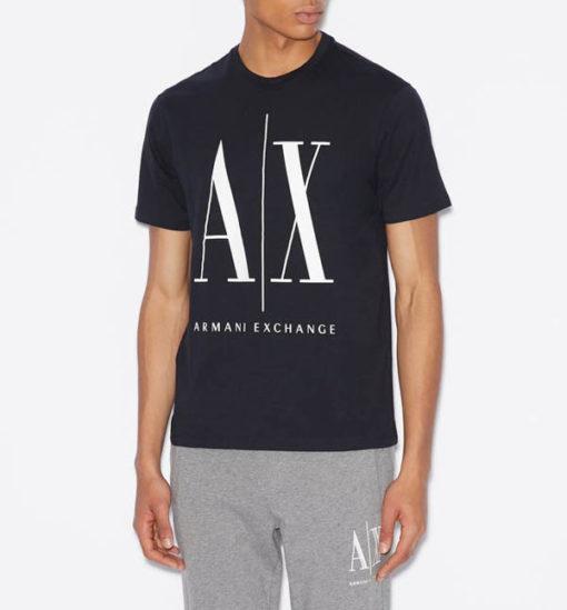 ARMANI EXCHANGE maglietta da uomo blu logo A|X