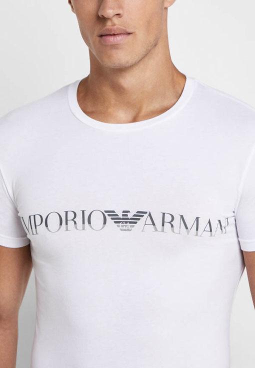 Emporio Armani t-shirt elasticizzata con scritta logo-2