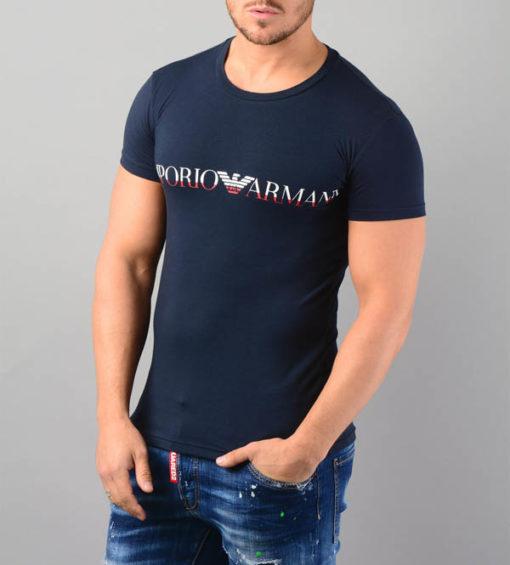 Emporio Armani t-shirt elasticizzata con scritta logo-1