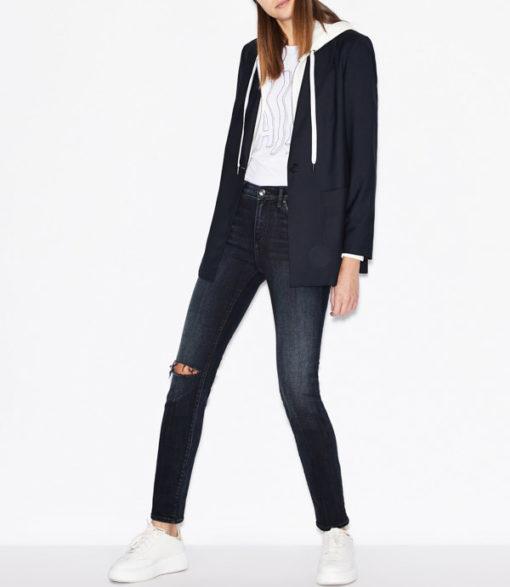 Maglietta elasticizzata donna Armani Exchange con applicazioni-6