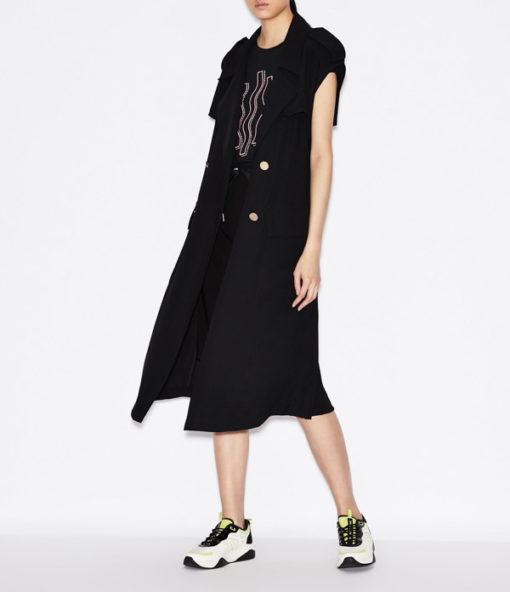 Maglietta elasticizzata donna Armani Exchange con applicazioni-7