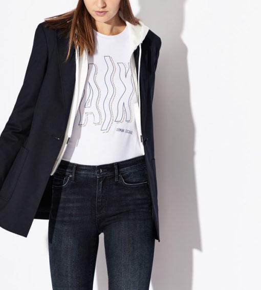 Maglietta elasticizzata donna Armani Exchange con applicazioni-4