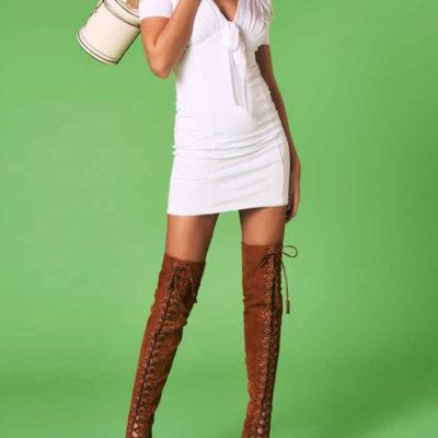 vestito scollato Denny Rose da donna in maglina
