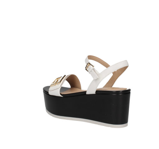 Sandalo a zeppa Guess in pelle bianca con para nera-2